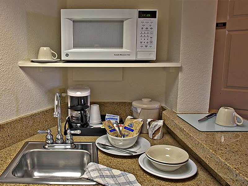 Hotel suite kitchen area